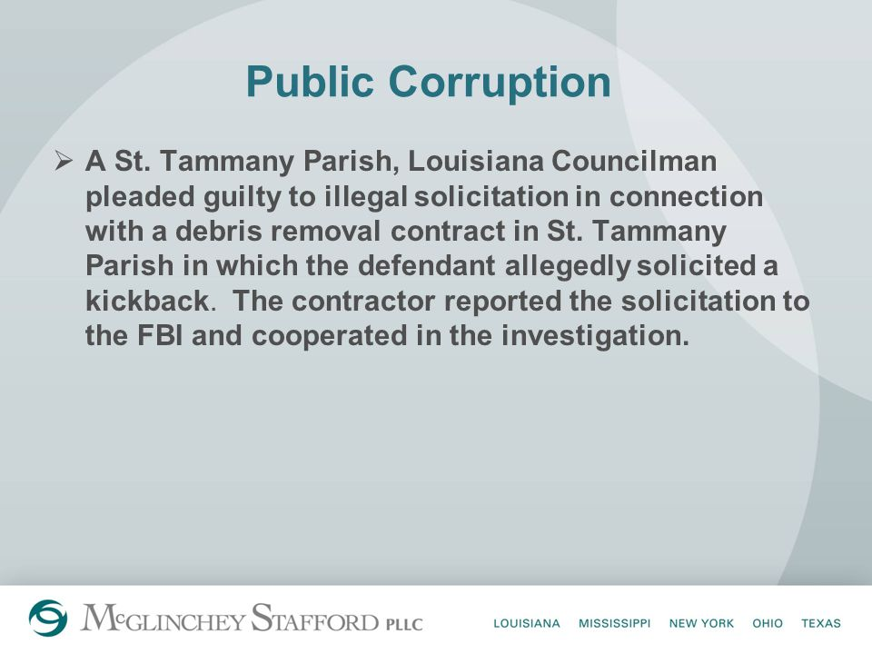 Public Corruption  A St.