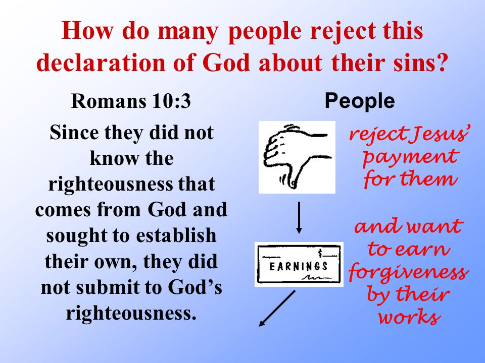 How do many people reject this declaration of God about their sins.