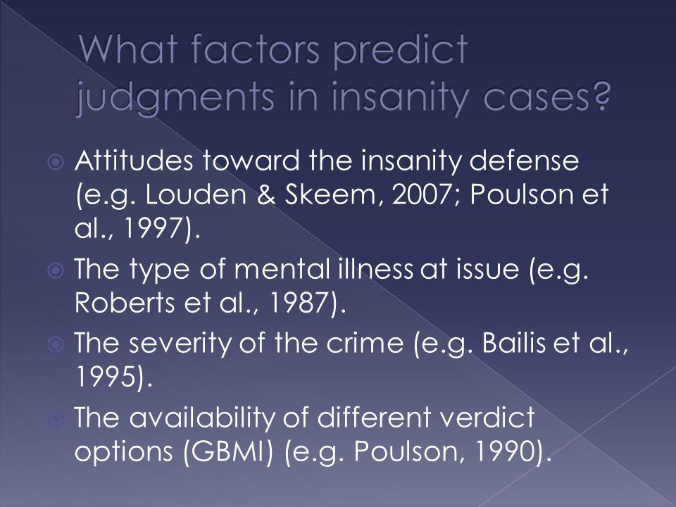  Attitudes toward the insanity defense (e.g. Louden & Skeem, 2007; Poulson et al., 1997).