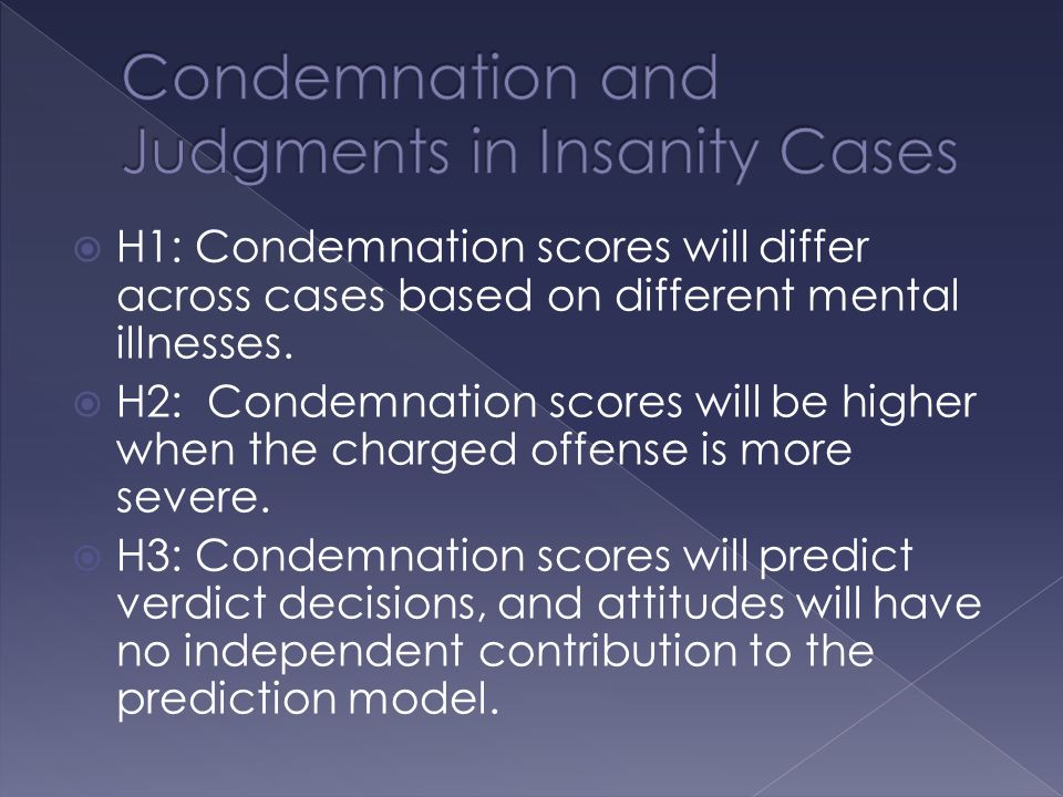  H1: Condemnation scores will differ across cases based on different mental illnesses.