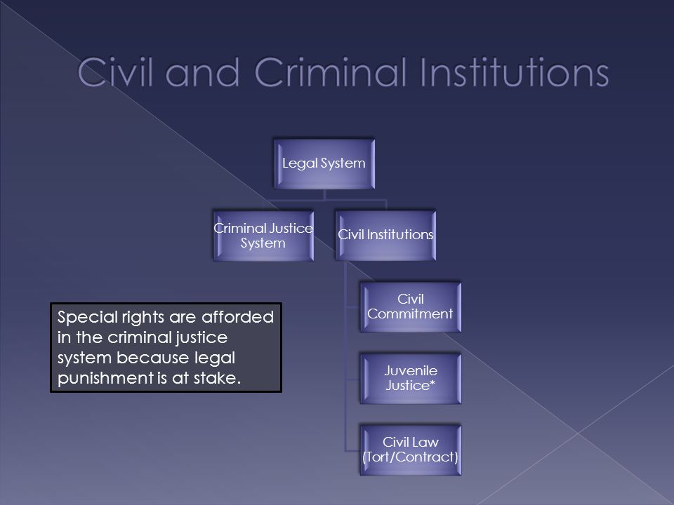 Legal System Criminal Justice System Civil Institutions Civil Commitment Juvenile Justice* Civil Law (Tort/Contract) Special rights are afforded in the criminal justice system because legal punishment is at stake.