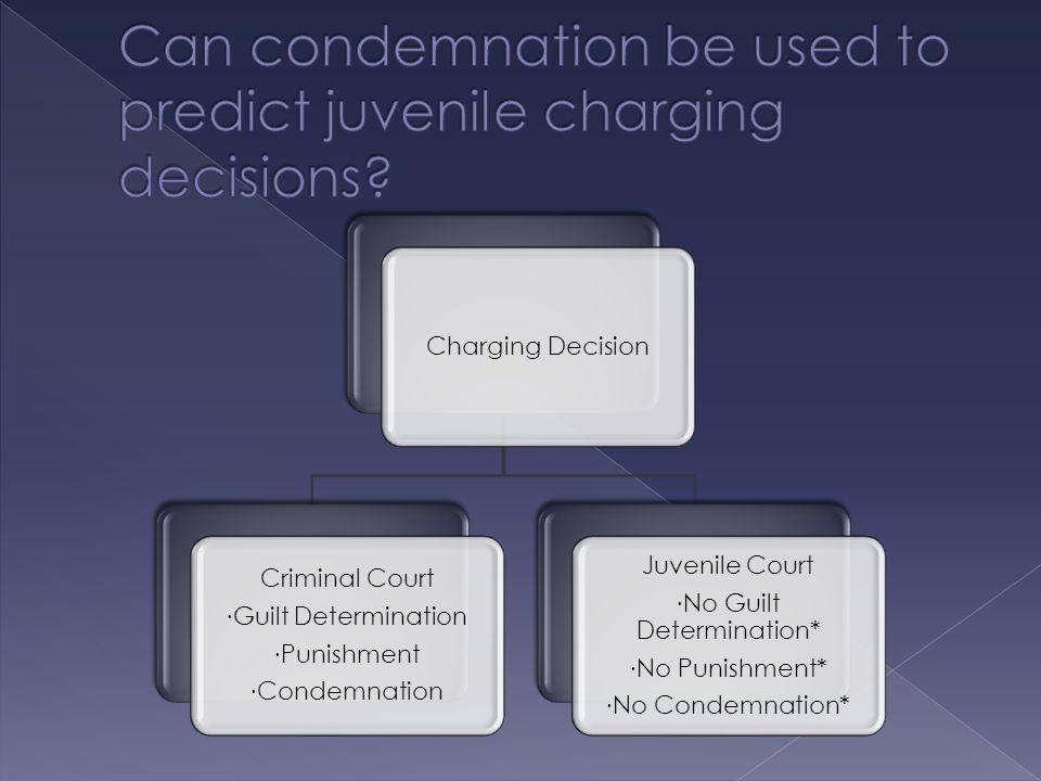 Charging Decision Criminal Court ∙ Guilt Determination ∙ Punishment ∙ Condemnation Juvenile Court ∙ No Guilt Determination* ∙ No Punishment* ∙ No Condemnation*