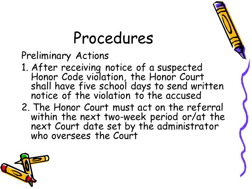 Procedures Preliminary Actions 1.