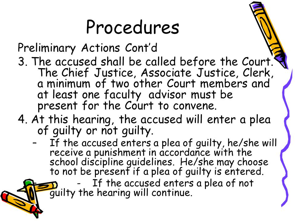 Procedures Preliminary Actions Cont'd 3. The accused shall be called before the Court.