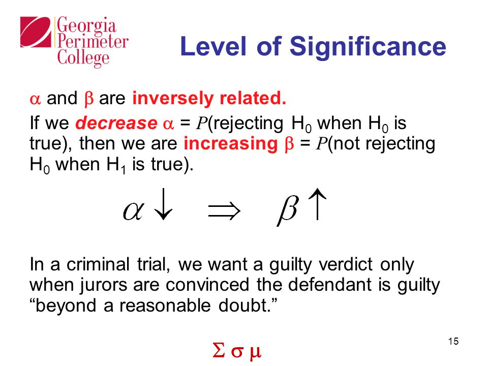  15 Level of Significance  and  are inversely related.