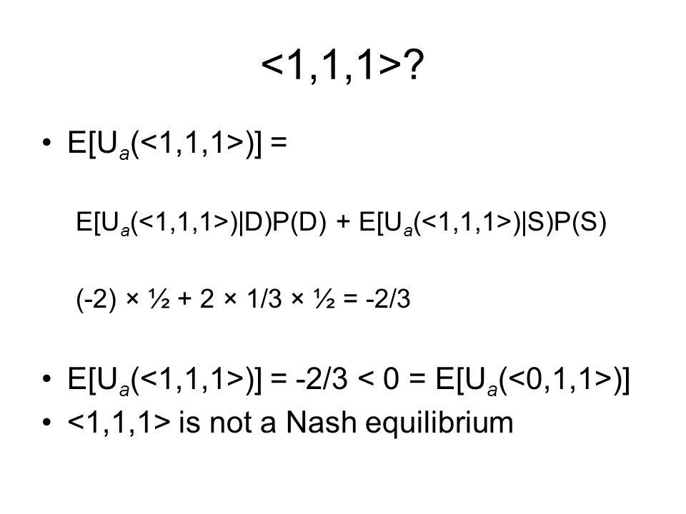 E[U a ( )] = E[U a ( )|D)P(D) + E[U a ( )|S)P(S) (-2) × ½ + 2 × 1/3 × ½ = -2/3 E[U a ( )] = -2/3 )] is not a Nash equilibrium