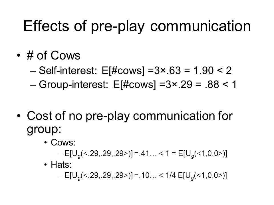 Effects of pre-play communication # of Cows –Self-interest: E[#cows] =3×.63 = 1.90 < 2 –Group-interest: E[#cows] =3×.29 =.88 < 1 Cost of no pre-play c