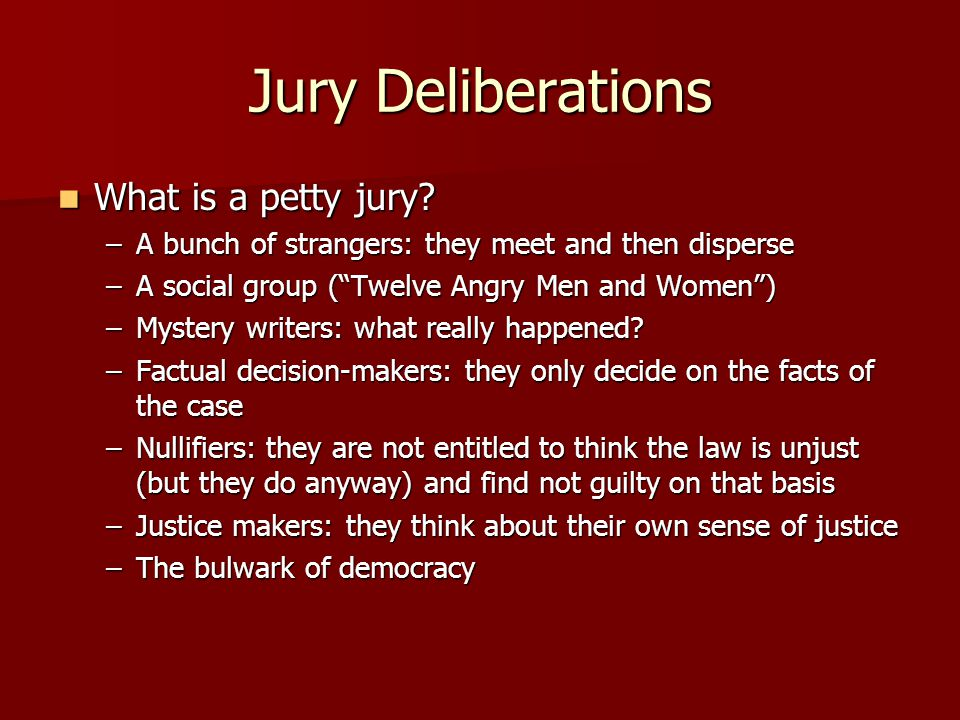 Jury Deliberations What is a petty jury. What is a petty jury.