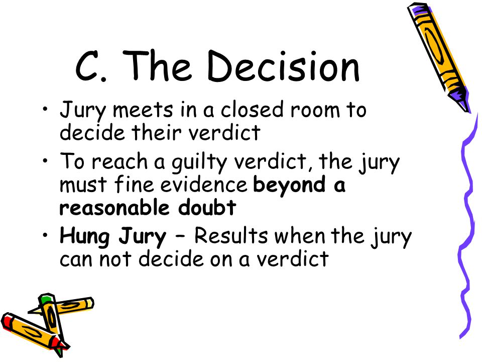 C. The Decision Jury meets in a closed room to decide their verdict To reach a guilty verdict, the jury must fine evidence beyond a reasonable doubt H