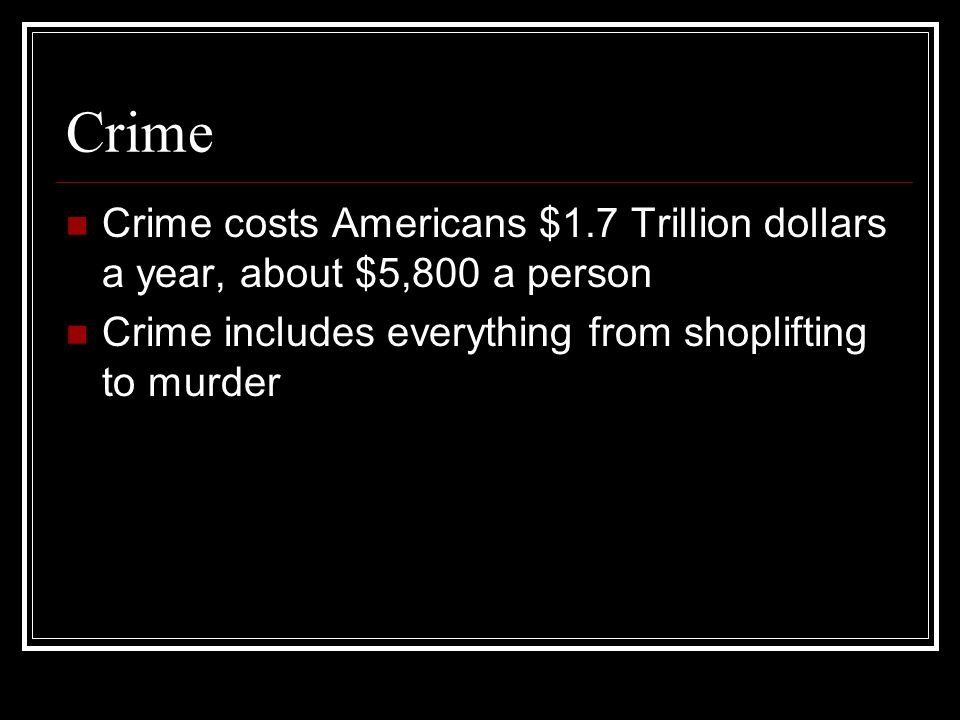 Types of Crime: 29 diff.