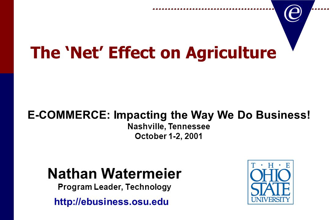 The 'Net' Effect on Agriculture Nathan Watermeier Program Leader, Technology Nathan Watermeier Program Leader, Technology E-COMMERCE: Impacting the Way We Do Business.