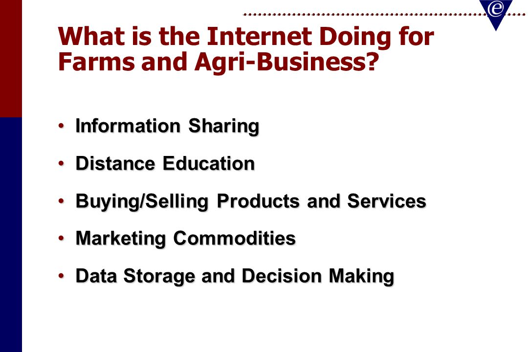What is the Internet Doing for Farms and Agri-Business.