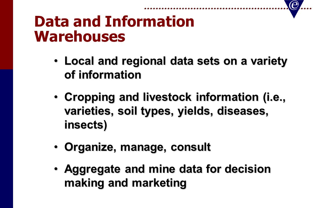 Data and Information Warehouses Local and regional data sets on a variety of informationLocal and regional data sets on a variety of information Cropping and livestock information (i.e., varieties, soil types, yields, diseases, insects)Cropping and livestock information (i.e., varieties, soil types, yields, diseases, insects) Organize, manage, consultOrganize, manage, consult Aggregate and mine data for decision making and marketingAggregate and mine data for decision making and marketing