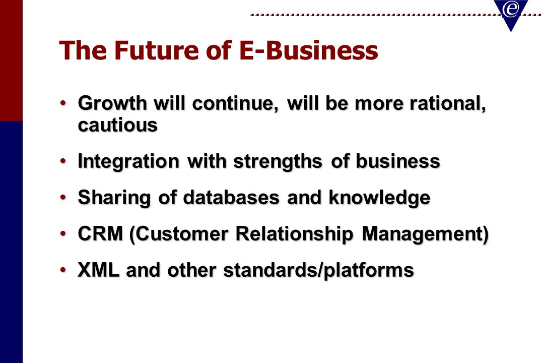 The Future of E-Business Growth will continue, will be more rational, cautiousGrowth will continue, will be more rational, cautious Integration with strengths of businessIntegration with strengths of business Sharing of databases and knowledgeSharing of databases and knowledge CRM (Customer Relationship Management)CRM (Customer Relationship Management) XML and other standards/platformsXML and other standards/platforms