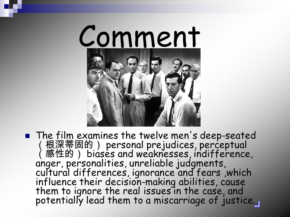 Comment The film examines the twelve men s deep-seated (根深蒂固的) personal prejudices, perceptual (感性的) biases and weaknesses, indifference, anger, personalities, unreliable judgments, cultural differences, ignorance and fears,which influence their decision-making abilities, cause them to ignore the real issues in the case, and potentially lead them to a miscarriage of justice.