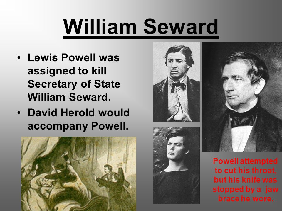 William Seward Lewis Powell was assigned to kill Secretary of State William Seward.