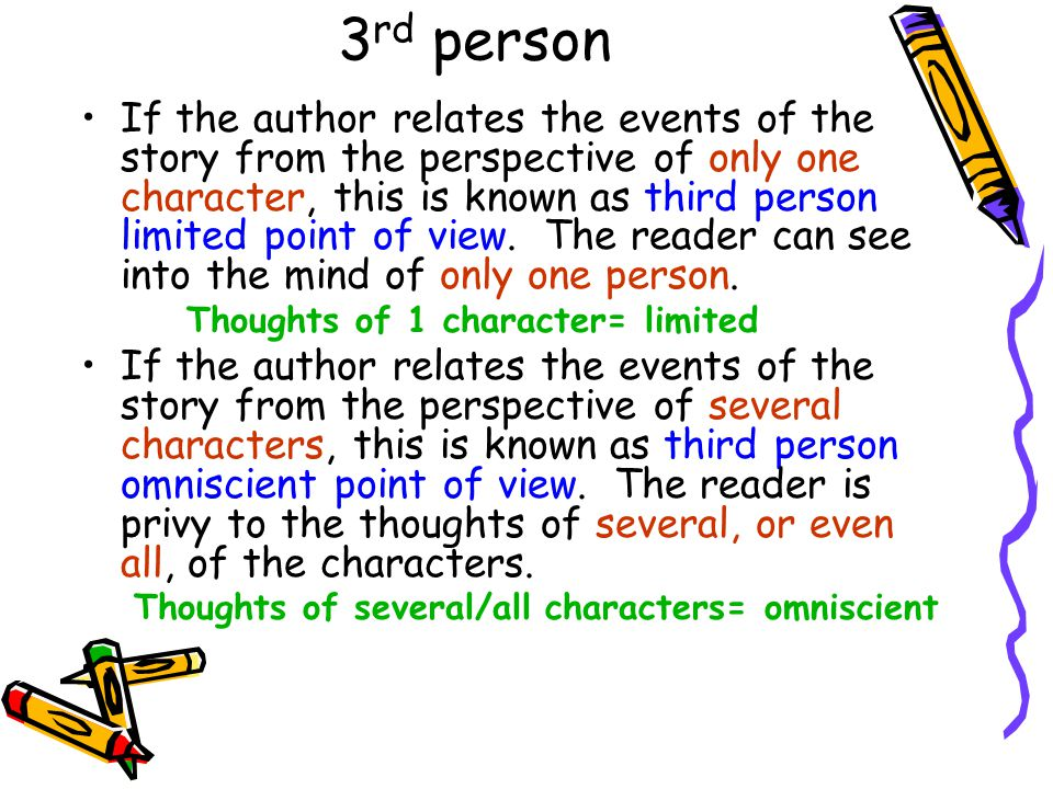 3 rd person If the author relates the events of the story from the perspective of only one character, this is known as third person limited point of v