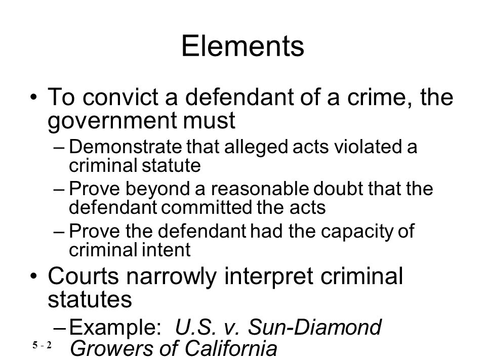 Constitutional Limitations Government may not enact an ex post facto (after the fact) law –Thus a person cannot be charged with a crime for an act that when committed was not a crime Constitutionally-protected behavior cannot be criminal – Example: Griswold v.