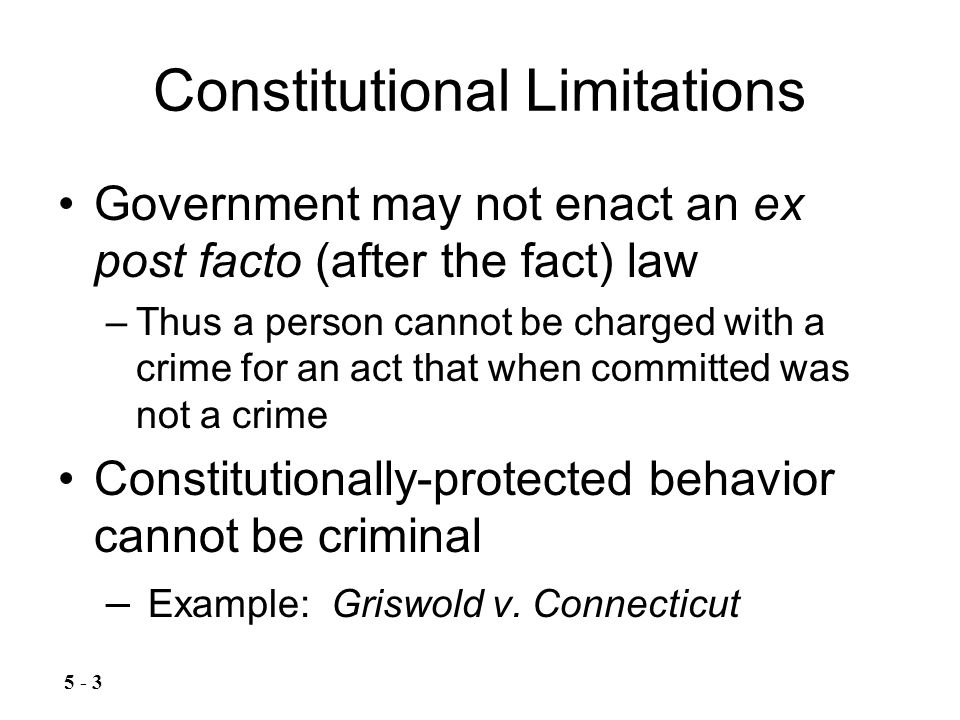 The Fifth Amendment The Fifth Amendment provides a privilege or protection against compelled testimonial self- incrimination –Practical meaning: a person may remain silent if making a statement would assist the government in prosecuting the person –Miranda warnings safeguard the right –Also prohibits prosecutorial comments at trial about the defendant's failure to testify 5 - 14