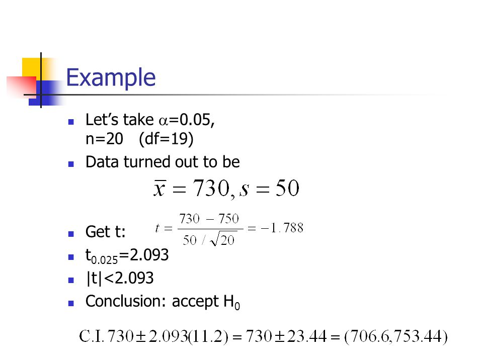 Example Let's take  =0.05, n=20 (df=19) Data turned out to be Get t: t =2.093 |t|<2.093 Conclusion: accept H 0