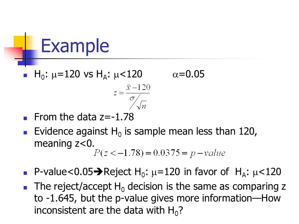 Example H 0 :  =120 vs H A :  <120  =0.05 From the data z=-1.78 Evidence against H 0 is sample mean less than 120, meaning z<0.