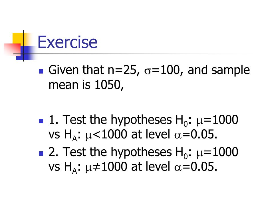 Exercise Given that n=25,  =100, and sample mean is 1050, 1.