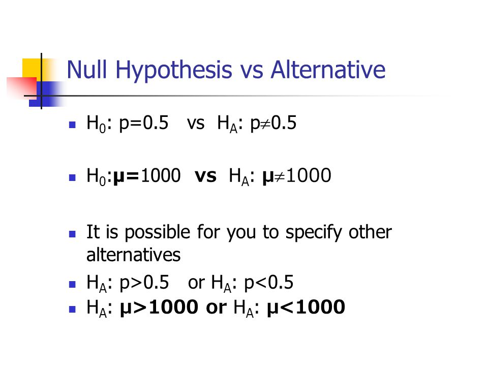 Null Hypothesis vs Alternative H 0 : p=0.5 vs H A : p  0.5 H 0 :μ=1000 vs H A : μ  1000 It is possible for you to specify other alternatives H A : p>0.5 or H A : p<0.5 H A : μ>1000 or H A : μ<1000