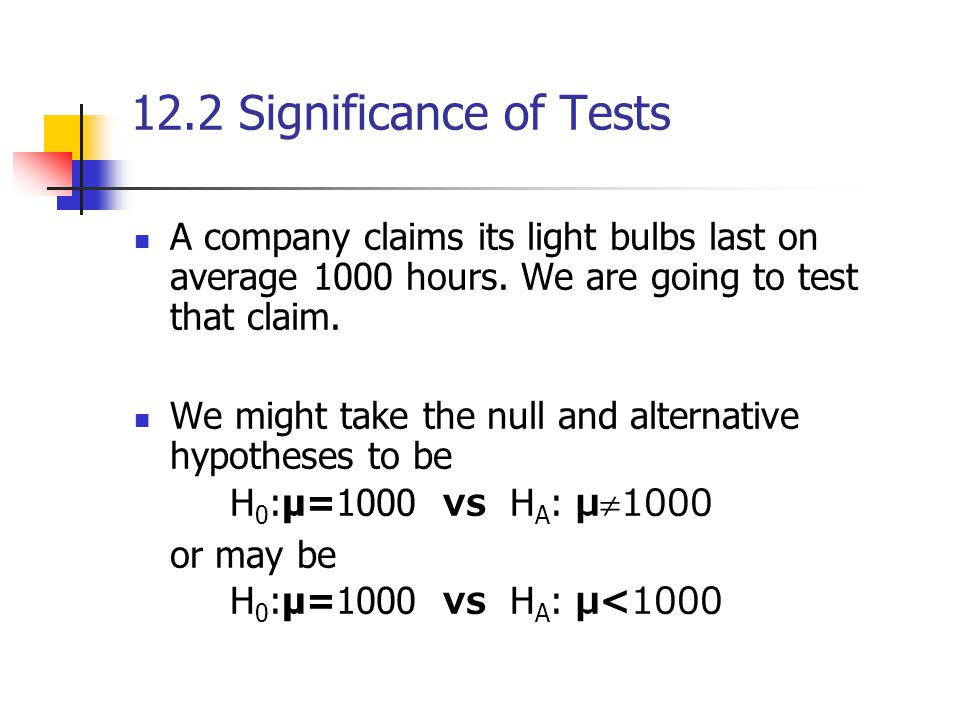 12.2 Significance of Tests A company claims its light bulbs last on average 1000 hours.