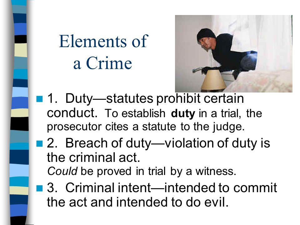 Elements of a Crime 1. Duty—statutes prohibit certain conduct.