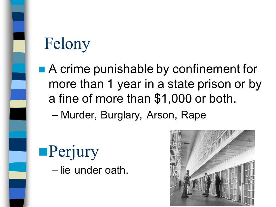 Felony A crime punishable by confinement for more than 1 year in a state prison or by a fine of more than $1,000 or both.