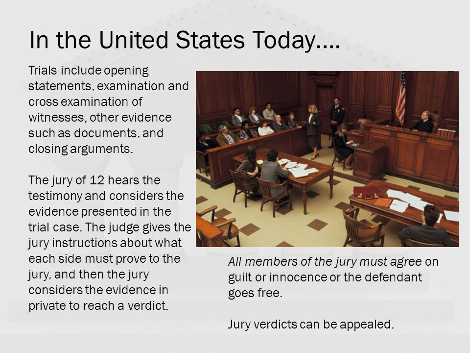 In the United States Today…. Trials include opening statements, examination and cross examination of witnesses, other evidence such as documents, and