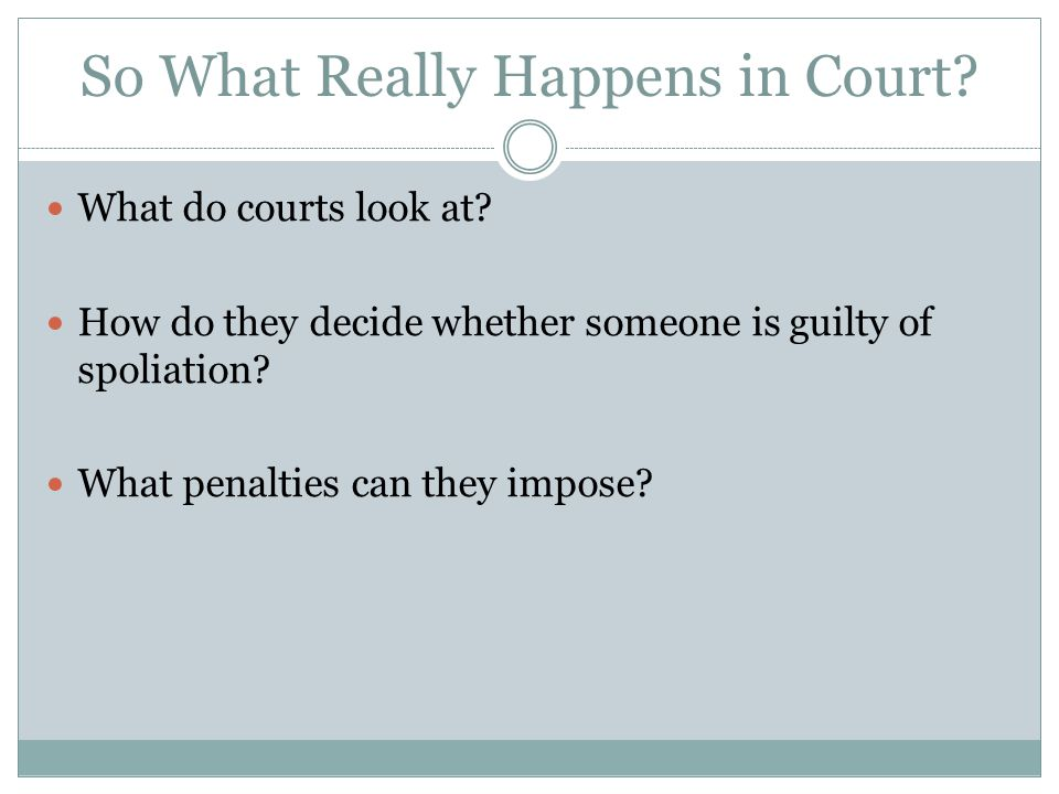 So What Really Happens in Court. What do courts look at.