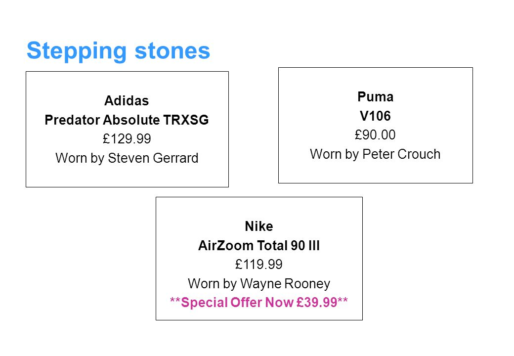 Stepping stones Adidas Predator Absolute TRXSG £129.99 Worn by Steven Gerrard Puma V106 £90.00 Worn by Peter Crouch Nike AirZoom Total 90 III £119.99