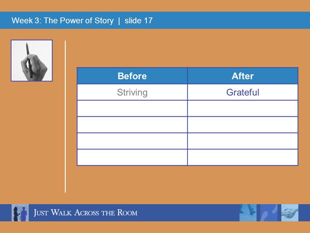 Week 3: The Power of Story | slide 17 BeforeAfter StrivingGrateful