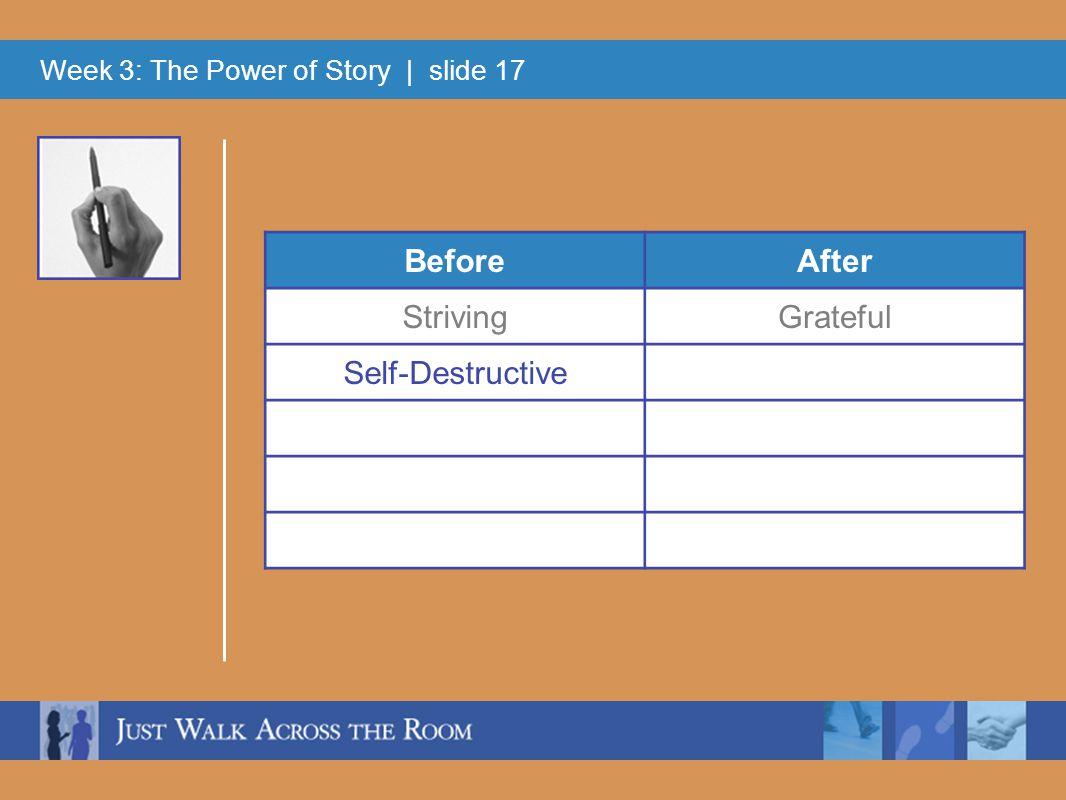 Week 3: The Power of Story | slide 17 BeforeAfter StrivingGrateful Self-Destructive