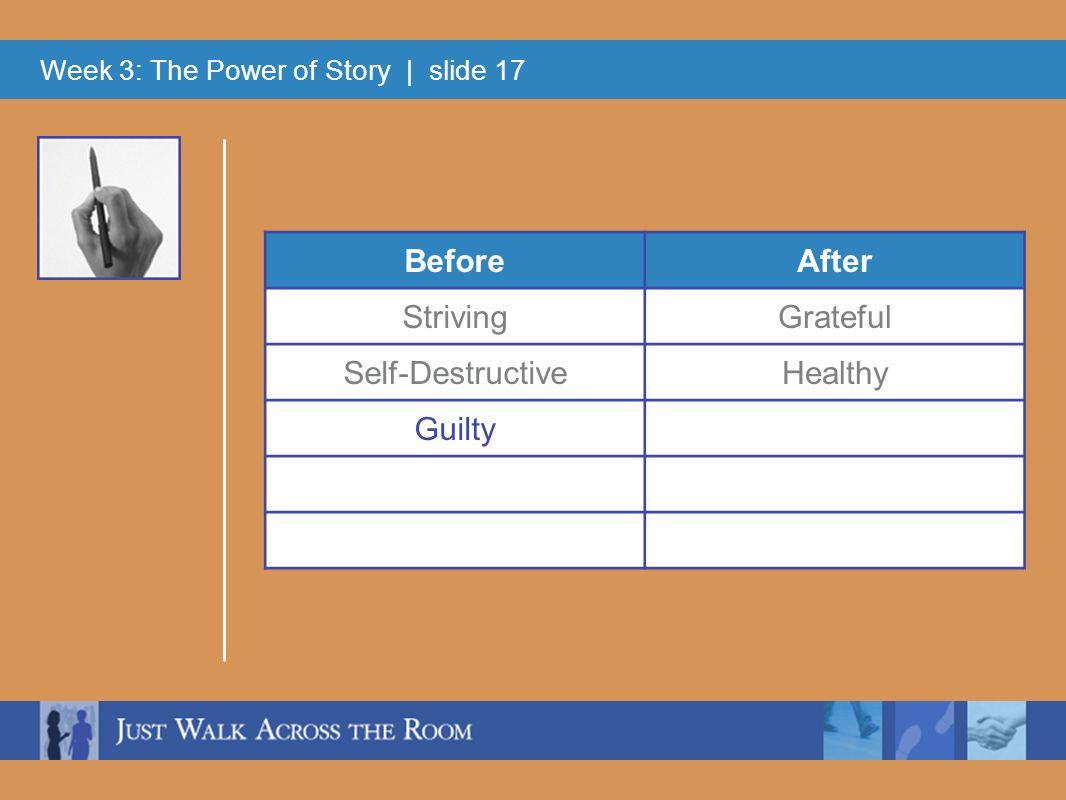 Week 3: The Power of Story | slide 17 BeforeAfter StrivingGrateful Self-DestructiveHealthy Guilty