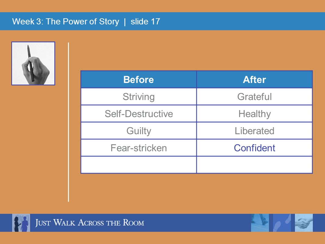 Week 3: The Power of Story | slide 17 BeforeAfter StrivingGrateful Self-DestructiveHealthy GuiltyLiberated Fear-strickenConfident