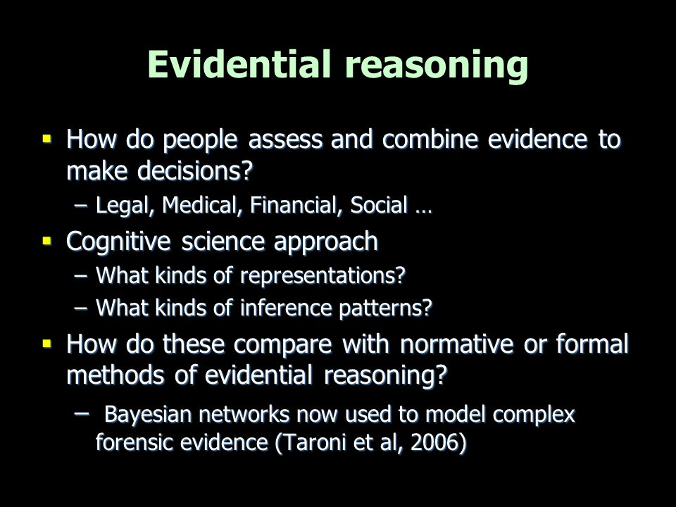 Reasoning with legal evidence Legal domain Legal domain –E.g.