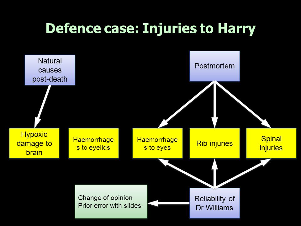 Defence case: Injuries to Harry Hypoxic damage to brain Haemorrhage s to eyelids Haemorrhage s to eyes Natural causes post-death Natural causes post-d