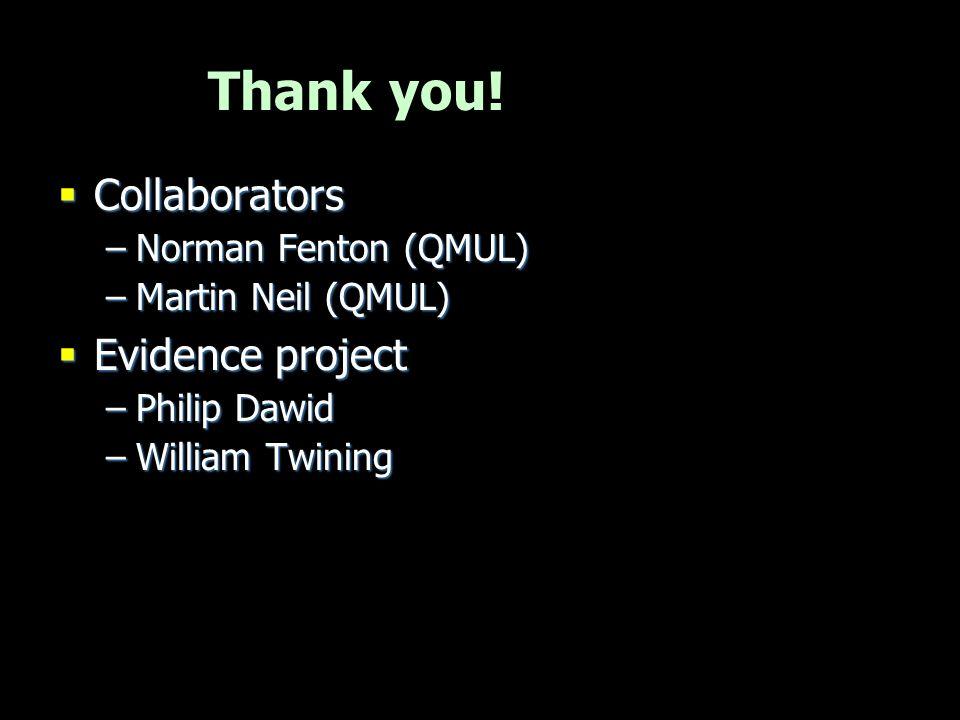 Thank you!  Collaborators –Norman Fenton (QMUL) –Martin Neil (QMUL)  Evidence project –Philip Dawid –William Twining