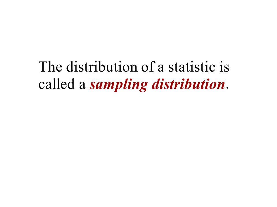 The distribution of a statistic is called a sampling distribution.