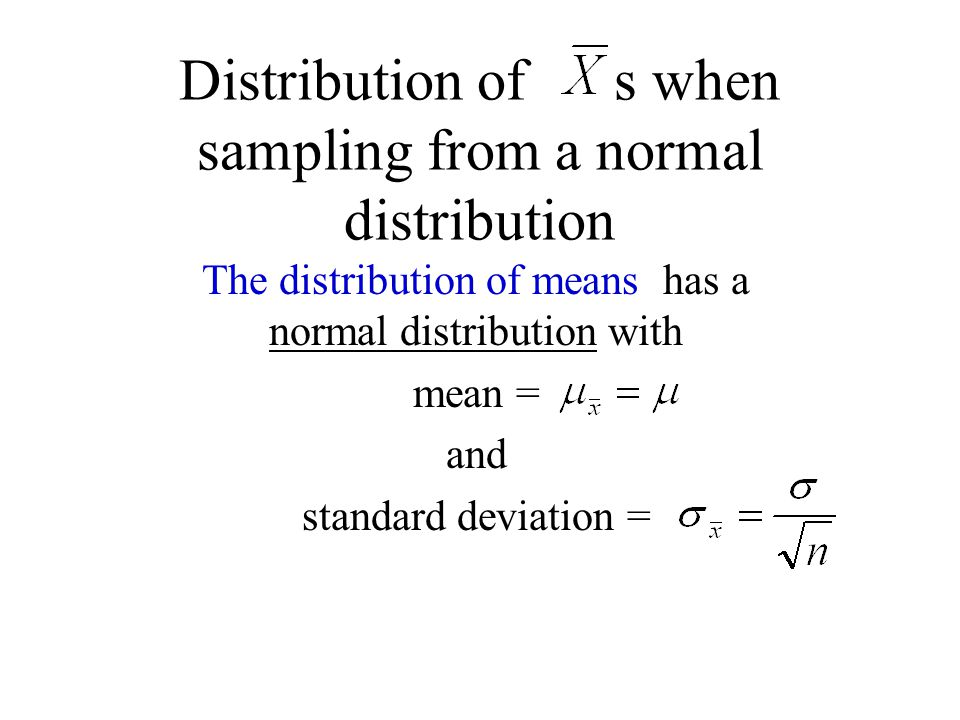 Distribution of s when sampling from a normal distribution The distribution of means has a normal distribution with mean = and standard deviation =