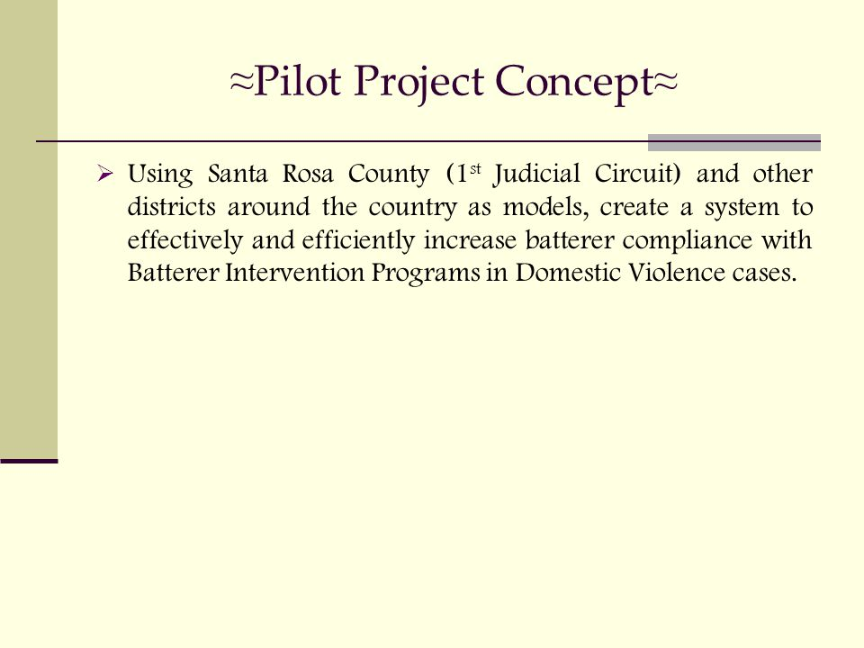 ≈ Pilot Project Concept ≈  Using Santa Rosa County (1 st Judicial Circuit) and other districts around the country as models, create a system to effectively and efficiently increase batterer compliance with Batterer Intervention Programs in Domestic Violence cases.