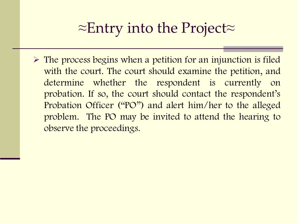 ≈ Entry into the Project ≈  The process begins when a petition for an injunction is filed with the court.