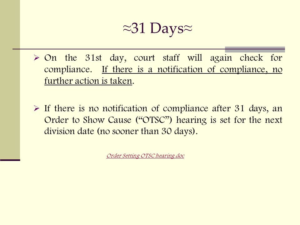 ≈ 31 Days ≈  On the 31st day, court staff will again check for compliance.