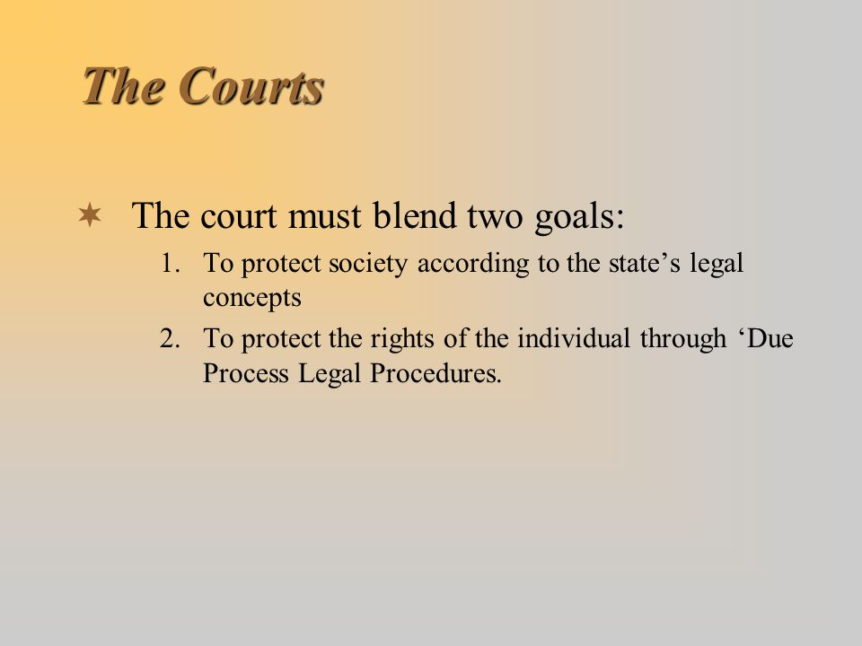 The Courts  The court must blend two goals: 1.To protect society according to the state's legal concepts 2.To protect the rights of the individual th