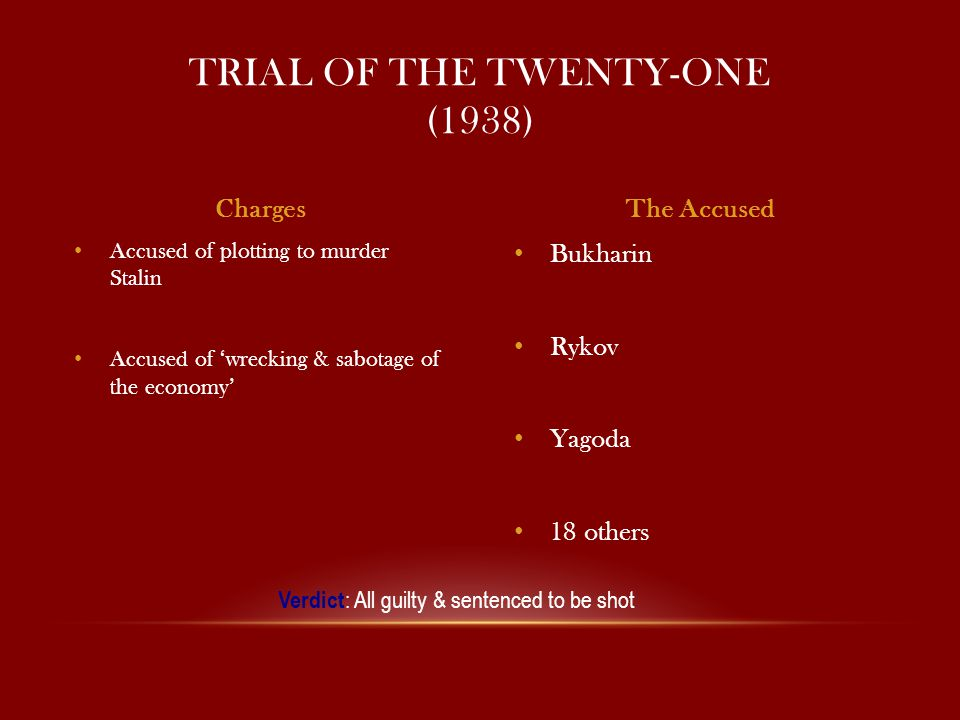 Bukharin Rykov Yagoda 18 others Accused of plotting to murder Stalin Accused of 'wrecking & sabotage of the economy' TRIAL OF THE TWENTY-ONE (1938) ChargesThe Accused Verdict : All guilty & sentenced to be shot