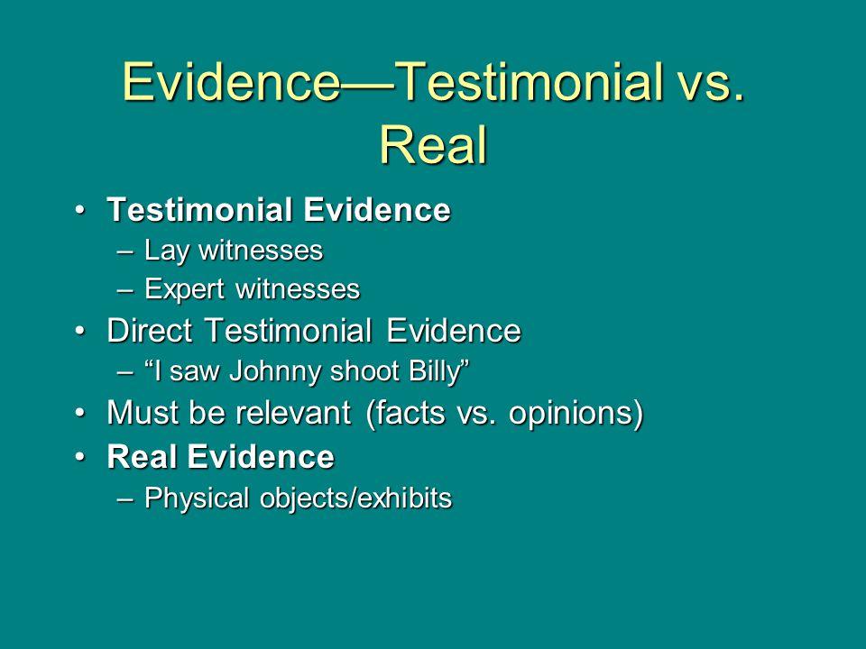 Evidence—Testimonial vs.