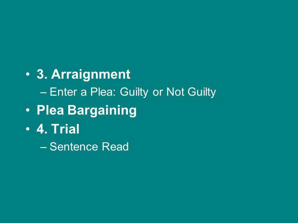 3. Arraignment –Enter a Plea: Guilty or Not Guilty Plea Bargaining 4. Trial –Sentence Read