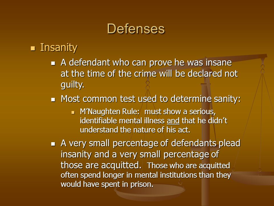 DefensesDefenses Insanity Insanity A defendant who can prove he was insane at the time of the crime will be declared not guilty. A defendant who can p